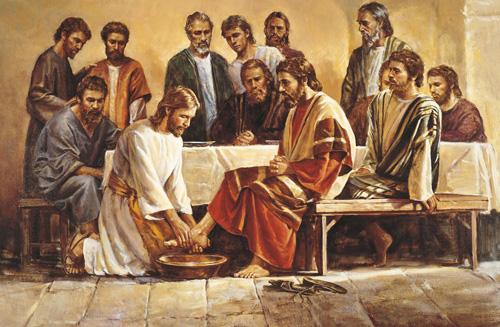 يسوع يغسل ارجل التلاميذ