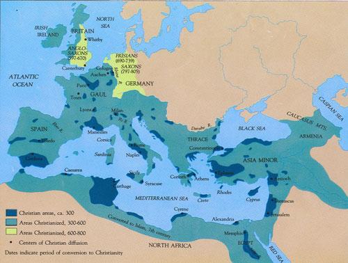 خريطة انتشار المسيحية في العصور الاولى