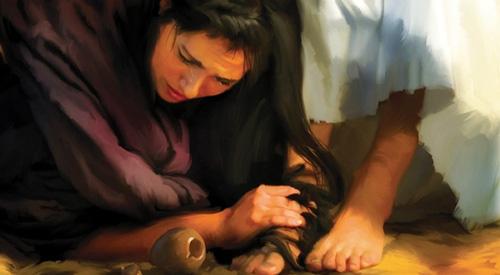 مريم المجدلية تغسل رجلي يسوع المسيح