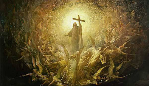الله الابن - الرب يسوع المسيح يحمل الصليب والملائكة حوله
