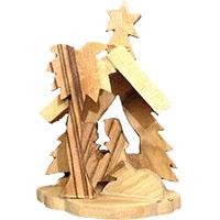 مغارة صغيرة لتزيين شجرة الميلاد من خشب الزيتون
